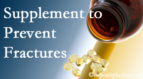 Spinal Care Clinic suggests nutritional supplementation with vitamin D and calcium to prevent osteoporotic fractures.