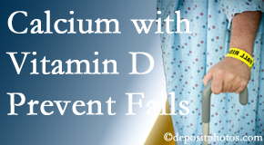 Calcium and vitamin D supplementation may be suggested to Burlington and Hamilton chiropractic patients who are at risk of falling.