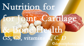 Spinal Care Clinic explains the benefits of vitamins A, C, and D as well as glucosamine and chondroitin sulfate for cartilage, joint and bone health.