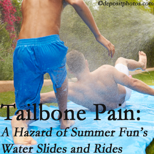 Spinal Care Clinic uses chiropractic manipulation to ease tailbone pain after a Burlington and Hamilton water ride or water slide injury to the coccyx.
