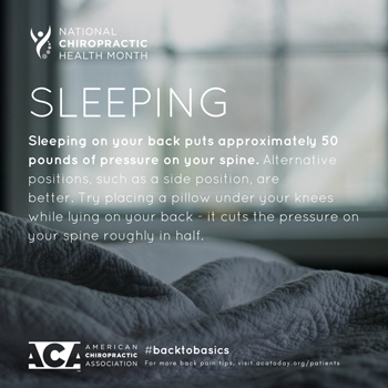Spinal Care Clinic recommends putting a pillow under your knees when sleeping on your back.